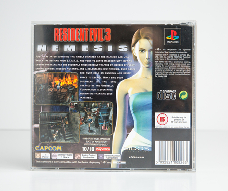 lodnond, england, 05052019 Resident Evil 3 Nemesis playstation , Sony PS1 computer video game by Capcom. A retro famous video game released in the 1990s. Zombie themed game. Puzzle game.