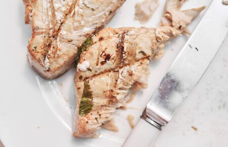 beautiful organic free range pan seared tuna and salmon steak, cooked to perfection, served on a white plate. tender fresh fish for a healthy eating diet. nutritious and delicious low fat fast food seafood.