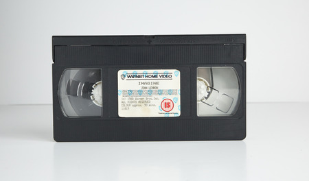 london, england, 05052018 john lennon beatles Old retro vhs tape  isolated on a white background. nostalgic 1980s music video.