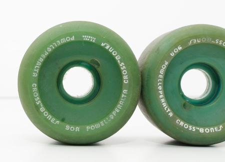 london, england, 05052018 Retro vintage 1980s powell peralta cross bones 60mm 90a skateboarding wheels. Large skate wheels used for street skating and vert ramp skating.