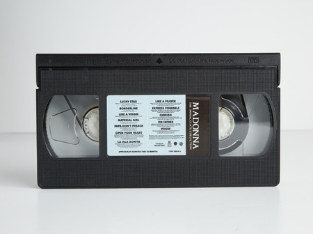 london, england, 05052018 Maddonna  Old retro vhs tape  isolated on a white background. nostalgic 1980s music video.