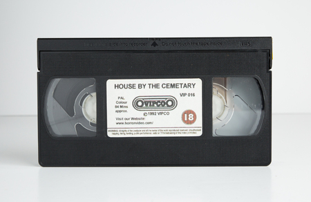 london, england, 05052018 Horror film cult classic Old retro vhs tape  isolated on a white background. nostalgic 1980s hammer horror. Redactioneel