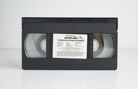 london, england, 05052018 Depeche Mode Old retro vhs tape  isolated on a white background. nostalgic 1980s music video.