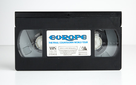 london, england, 05052018 Rock band Europe, the final countdown world tour Old retro vhs tape  isolated on a white background. nostalgic 1980s music video. Redactioneel