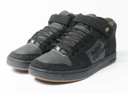 san fransisco, california, 05/05/2019 Ipath Grasshopper Skateboard shoes made from hemp. very rare black hemp skateboarding shoes from the 1990s. iconic hippy vegan footwear. Banque d'images