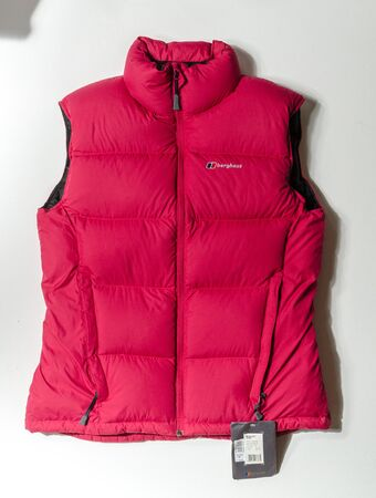 london, england, 05/05/2019 A berghaus womens quilted down gilet blast vest body warmer waistcoat. winter fashion and mountaineer trekking weather protective wear.. Stockfoto