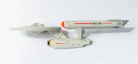 london, england, 05/05/2018 Star Trek uss enterprise space ship model NCC 1701. Science fiction intergalactic spacecraft. Isolated space vessel on a white background.