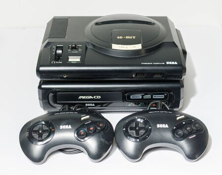 london, england, 05/05/2018 Sega megadrive 16 bit and Sega Mega Cd Console. very rare mega cd drive attachment onto the original games console. Retro arcade gaming.
