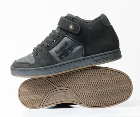 san fransisco, california, 05/05/2019 Ipath Grasshopper Skateboard shoes made from hemp. very rare black hemp skateboarding shoes from the 1990s. iconic hippy vegan footwear.