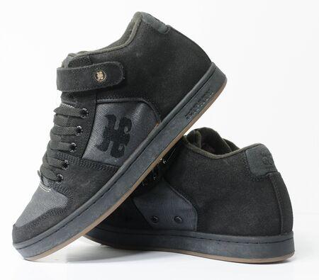 san fransisco, california, 05/05/2019 Ipath Grasshopper Skateboard shoes made from hemp. very rare black hemp skateboarding shoes from the 1990s. iconic hippy vegan footwear. Stockfoto
