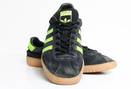 london, england, 05/05/2018  Adidas Originals Bermuda Core Black Green Gum Casuals Not Malmo Dublin Trainers vintage sneaker trainers. stylish retro football street fashion. famous three stripes