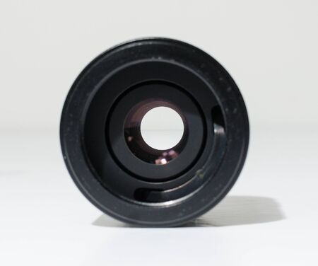 an automatic tele convertor doubler lens adaptor to make longer focal lengths. Adding distance to existing lenses. lens adaptor isolated on a white studio background. Foto de archivo