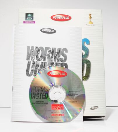 london, england, 05052018 Retro vintage commodore amiga, cbm arcade video game classic worms united in a big box rare format. collectors nostalgic 8 bit computer game. Sajtókép