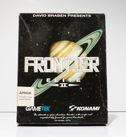 london, england, 05052018 Retro vintage commodore amiga, cbm arcade video game classic frontier elite 2 in a big box rare format. collectors nostalgic 8 bit computer game.