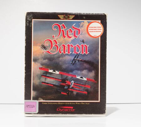 london, england, 05052018 Retro vintage commodore amiga, cbm arcade video game classic red baron in a big box rare format. collectors nostalgic 8 bit computer game.