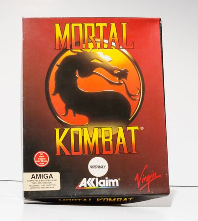 london, england, 05052018 Retro vintage commodore amiga, cbm arcade video game classic mortal kombat in a big box rare format. collectors nostalgic 8 bit computer game.