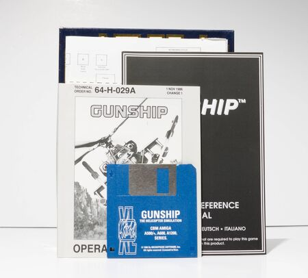 london, england, 05052018 Retro vintage commodore amiga, cbm arcade video game classic gunship microprose in a big box rare format. collectors nostalgic 8 bit computer game. Sajtókép