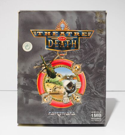 london, england, 05052018 Retro vintage commodore amiga, cbm arcade video game classic theatre of death psygnosis  in a big box rare format. collectors nostalgic 8 bit computer game. Sajtókép