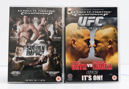 london, england, 05/05/2018, Mixed martial arts UFC mma vintage retro dvd collection UFC 67 anderson silva, pride fc, tito ortiz, chuck liddell, matt hughes