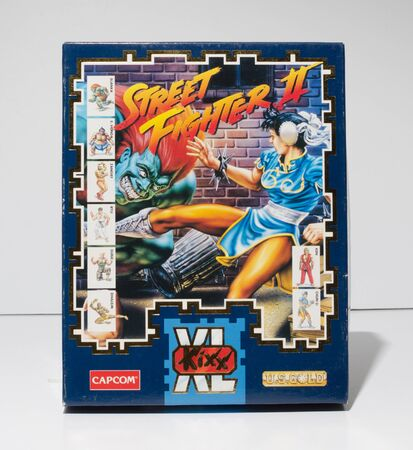 london, england, 05052018 Retro vintage commodore amiga, cbm arcade video game classic street fighter 2 in a big box rare format. collectors nostalgic 8 bit computer game. Sajtókép