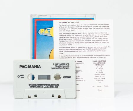 london, england, 05/05/2018 Retro vintage spectrum 48k arcade video game classic pacmania pac man software, in a rare format. collectors nostalgic 8 bit computer game. Editorial