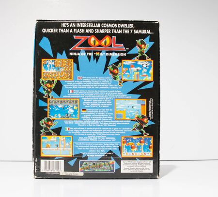 london, england, 05052018 Retro vintage commodore amiga, cbm arcade video game classic zool in a big box rare format. collectors nostalgic 8 bit computer game.