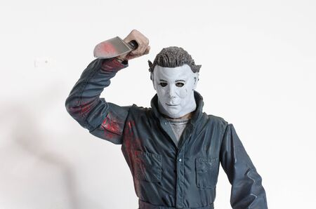 london, england, 05/05/2018 Michael myers serial killer action figure with knife from the film halloween. A thriller and suspense movie film from thew 1990s.  created by john carpenter film director and writer.