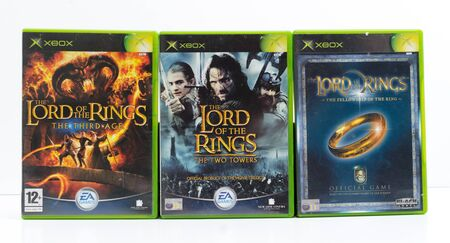 london, england, 01022018 xbox original lord of the ring video games. The third age, the two towers, the fellowship of the ring. JR Tolkien books to video game conversion. blockbuster special effects film fantasy in new zealand.