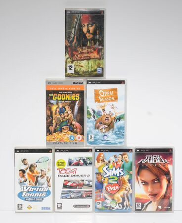 london, england, 05052018 A collection of sony psp video games. sony umd dvd computer arcade games. portable games for portable play station. ps1 ps2 ps3 ps4