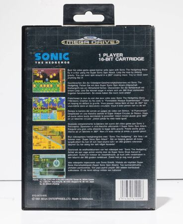 london, england, 05052019 sonic the hedgehog sega mega drive video game cartridge isolated on a white studio background. Retro and vintage console game playing from the 1990s.