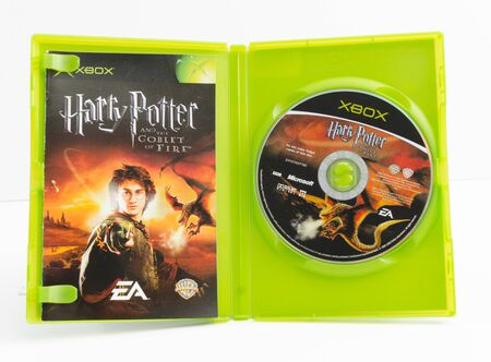 london, england, 05052018 harry potter xbox original video games. goblet of fire and chamber of secrets. wizard and magic fantasy action movie starring daniel radcliffe. retro arcade vintage collectors games. 新聞圖片