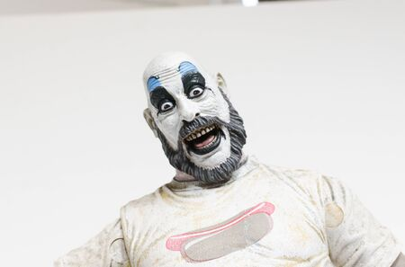 london, england, 05052018 captain spaulding serial killer clown action figure  from the film house of 1000 corpses and devils rejects.  1990s.  created by rob zombie film director and writer.