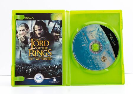 london, england, 01022018 xbox original lord of the ring video games The two towers. JR Tolkien books to video game conversion. blockbuster special effects film fantasy in new zealand.