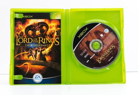 london, england, 01022018 xbox original lord of the ring video game The third age. JR Tolkien books to video game conversion. blockbuster special effects film fantasy in new zealand.