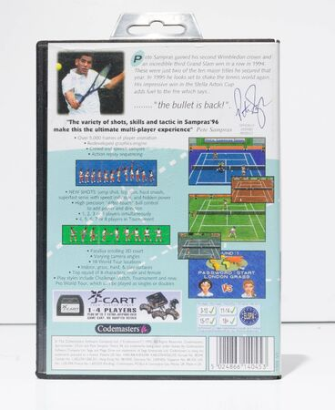 london, england, 05/05/2019 pete sampras tennis 1996 sega mega drive video game cartridge isolated on a white studio background. Retro and vintage console game playing from the 1990s. Redactioneel