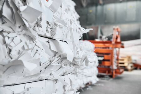 A paper recycling factory plant shredding machine, shredding waste paper into square bails, ready to be pulped and reused. Recycle waste materials to offset pollution and save the planet. Archivio Fotografico
