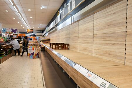 london, englnad, 17/03/2020 panic buying due to coronavirus and lockdown isolation, leaves supermarket shelves empty, with no bread, tinned foods, baby nappies, toilet roll and everyday staple food