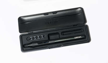 london, england, 05/05/2018 A wacom creative stylus 2 professional drawing graphics tablet pen for iPad and graphics tablets. Illustrating and drawing digital graphics for the creative industry.