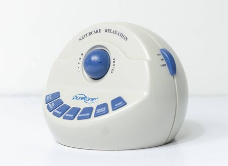 lobnond, england, 05/05/2018 A pure tone tinnitus rehab relaxation sound machine to alleviate the pain and suffering of tinnitus. ear and hearing disfunction and hearing loss.