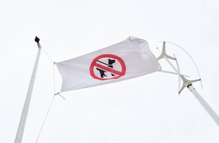 A flag on a sunny day at the beach showing a no dog zone. Banned dogs on the beach, no dogs allowed, dog restriction zones . Irresponsible dog owner not cleaning up dog dirt has led to a ban.