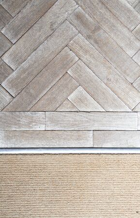 A vintage rustic antique wooden block flooring in a rustic coffee shop. Beautifully crafted retro shop fittings. Perfect for type, composites or a logo