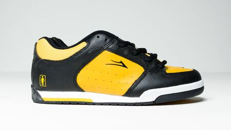 londonm, england, 05/05/2020 Very rare yellow leather lakai and girl rick howard 3 pro model skate shoes, skateboarding trainers from the 1990s. Brand new rare sneaker collection. Stockfoto