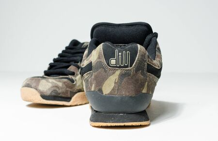 londonm, england, 05/05/2020 Very rare dvs jason dill 2 SP camouflaged skate shoes, skateboarding trainers from the 1990s. Brand new rare sneaker collection. Stockfoto