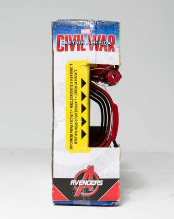 london, england, 05/05/2020 Marvel Avengers Captain America Civil War Nerf Slide Blast Armour from Hasbro. Marvel and nerf collaboration superhero toys and merchandise. 新聞圖片
