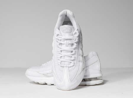 london, englabnd, 05/08/2018 Rare Nike Air MAX 95 GS WHITE METALLIC SILVER, white fashion nikes. Nike air max retro classic sneaker trainers. Nike sport and street wear fashionable athletic apparel.