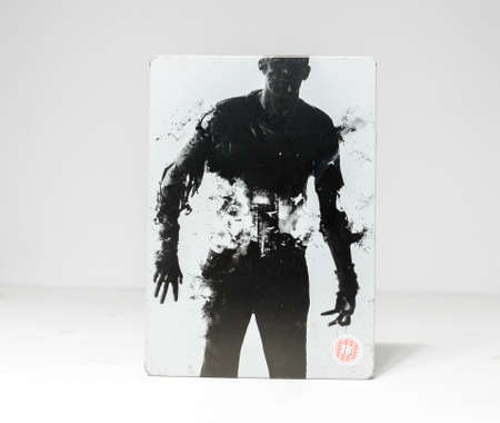 lodnond, england, 05/05/2019 Resident Evil 6 steelbook  edition xbox 360 computer video game by Capcom. A retro famous video game released in the 1990s. Zombie themed game.