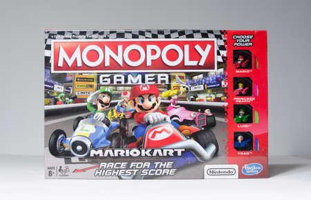 london, england, 26/05/2020 Mariokart nintendo hasbro monopoly gamer, mariokart race car edition. Sealed in factory plastic fresh seal. Famous analog board games for the family.