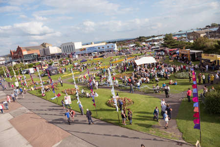 morecambe, england, 15/01/2020 Before the coronavirus pandemic, crowds and people socialising at a vintage weekend show in england. People close to each other in a busy packed vintage event spreading the virus.