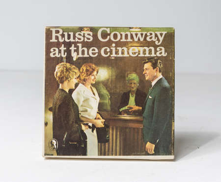 london, uk, 05/05/2020 Russ conway, vintage retro pre recorded reel to reel tape movie cinematic vintage film product, isolated on a white studio background.