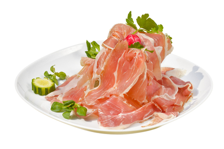 Cantaloupe: traditional Italian appetizer parma ham with melon - prosciutto melon with white background Stock Photo